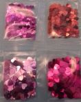4 x pink / red heart sequins / confetti  packets